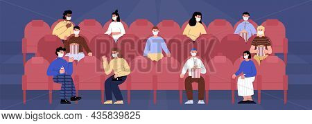 People Watching Movie At The Cinema Wearing Face Masks. Man And Woman Sit At The Audience Watch Movi