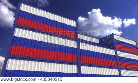 Russia Flag Containers Are Located At The Container Terminal. Russia Export Or Import Concept, 3d Re