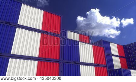 France Flag Containers Are Located At The Container Terminal. France Export Or Import Concept, 3d Re