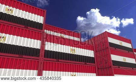 Egypt Flag Containers Are Located At The Container Terminal. Egypt Export Or Import Concept, 3d Rend