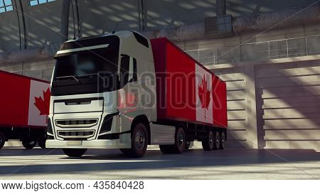 Cargo Trucks With Canada Flag. Trucks From Canada Loading Or Unloading At Warehouse Dock. 3d Renderi