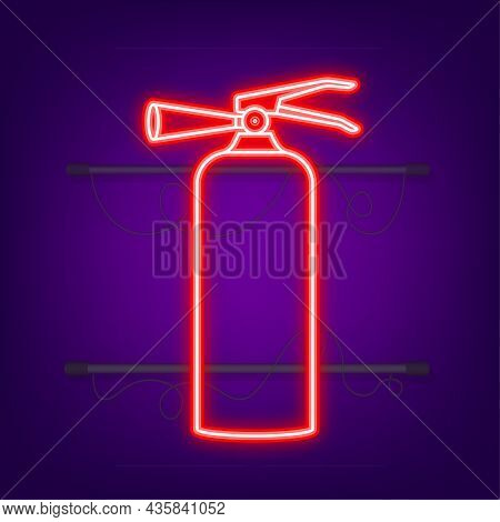 Fire Extinguisher Protection. Neon Icon. Vector Illustration