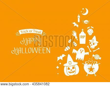 Happy Halloween Banner Or Party Invitation Background With Jack Lamp, Skull, Witch's Cauldron, Ghost