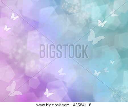 Pink shine with butterflies as abstract lights background poster