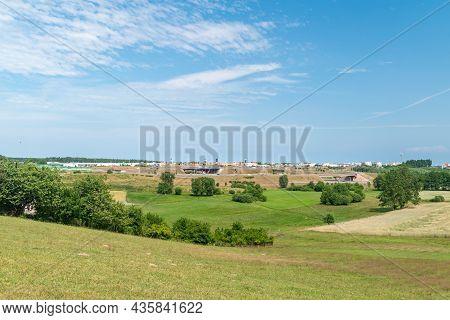 Gdansk, Poland - July 7, 2021: Landscape View In Gdansk With Markets In Gdansk Near Expressway.