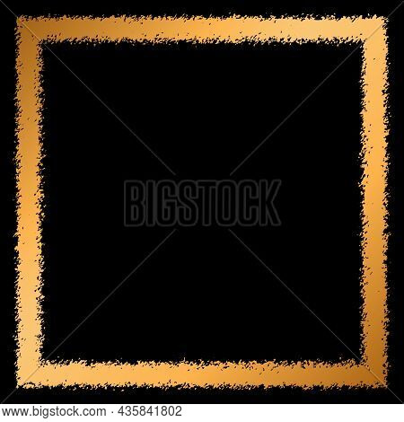 Gold Frame On A Black Background With Place For Your Text. Flat Vector Illustration
