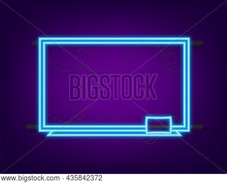 Office Whiteboard. Neon Icon. Empty Whiteboard With Marker Pens. Vector Stock Illustration