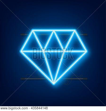 Diamond Neon Icon. Diamond Sign. Vector Stock Illustration.
