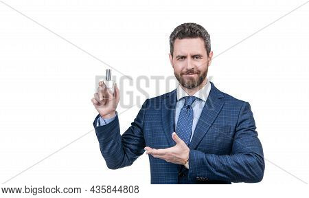 Look Here. Mens Fragrance Smell. Successful Guy Suggest Fashion Cologne Bottle.