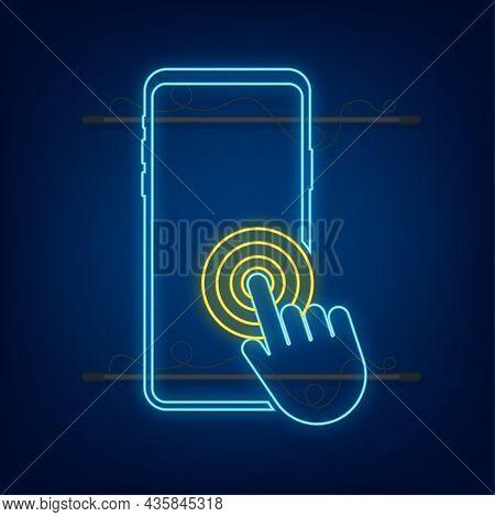 Click Smartphone. Empty Screen, Phone Mockup. Neon Device Mockup. Cursor Icon Vector. Hand Pointer V
