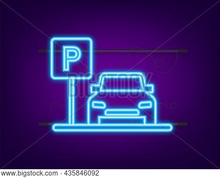 Template With Parking. Logo, Icon, Label. Parking On White Background. Neon Icon. Web Element. Vecto