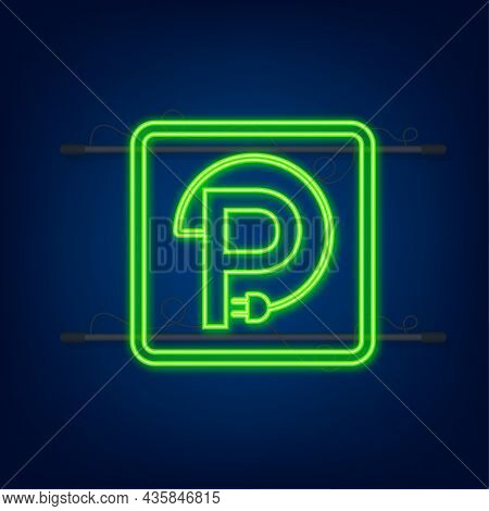 Electric Vehicle Charging Station Icon. Ev Charge. Electric Car. Neon Icon
