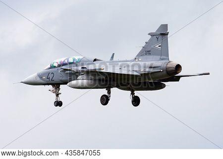 Volkel, Netherlands - June 13, 2013: Military Fighter Jet Plane At Air Base. Air Force Flight Operat