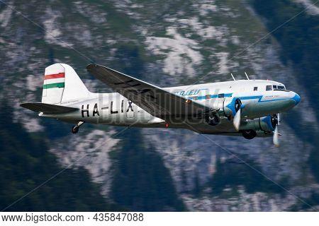 Sankt Wolfgang, Austria - July 5, 2014: Old Timer Passenger Plane. Cold War And World War Aviation.