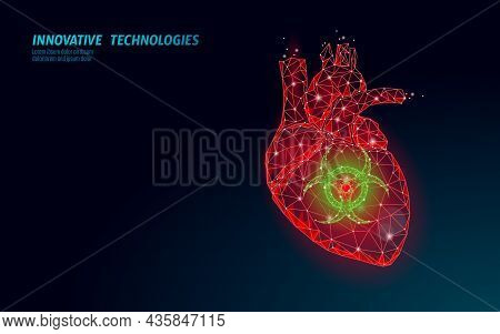 3d Human Heart Attack Disorder. Medical Depression Anxiety Cardiac Pain Emergency Low Poly Drug Trea