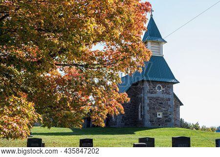 A Rural Anglician Church In The Fall In New Bruncwick, Canada