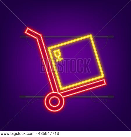 Delivery Neon Icon. Delivery Service. Fast Courier. Truck Icon Set. Vector Stock Illustration