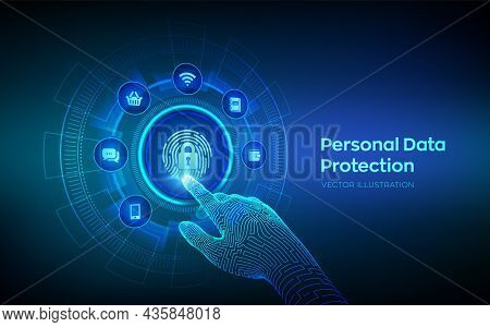 Personal Data Protection Business Concept On Virtual Screen. Cyber Security. Fingerprint With Padloc