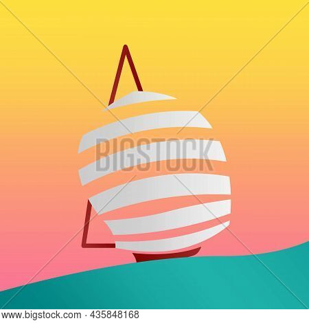 Fancy Yacht Club Colored Icon, Silhouette. Yacht Boat With Sails. Design Element For Business. Trend