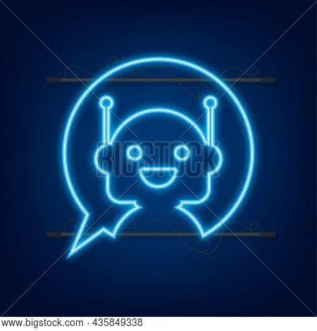 Robot Neon Icon. Bot Sign Design. Chatbot Symbol Concept. Voice Support Service Bot. Online Support