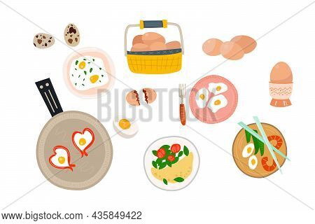 Set Of Chicken And Quail Eggs And Egg Dishes, Scrambled Eggs, Omelet, Japanese Food, Various Breakfa