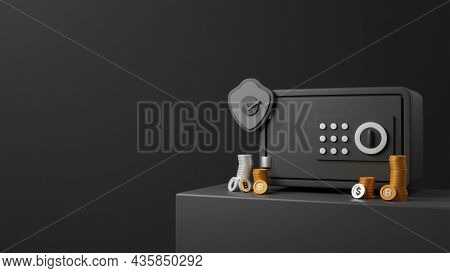 3D Rendering Safe Box With Approve Security Shield, Coins Stack And Copy Space On Black Background.