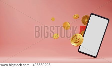 3D Rendering Smartphone With Golden Currencies And Copy Space On Pink Background.