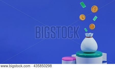 3D Render Of Currency And Banknotes Popping Out From Bag On Podium With Copy Space.