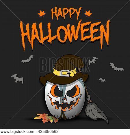 Happy Halloween. Rugby Ball As Pumpkin