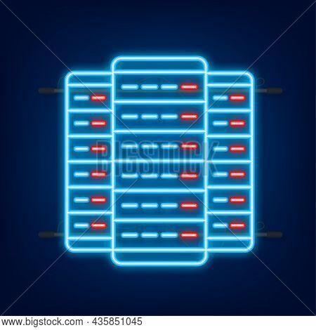 Data Center. Neon Icon. Mainframe Service Concept Banner, Server Rack. Server Room. Vector Illustrat