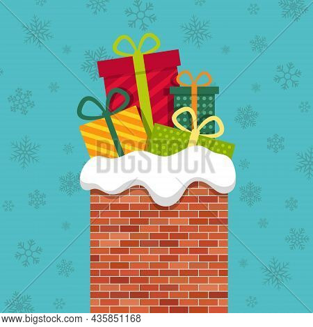 Christmas Chimney With Gift From Santa Claus. Xmas Poster With Roof Of House, Brick Chimney And Pres