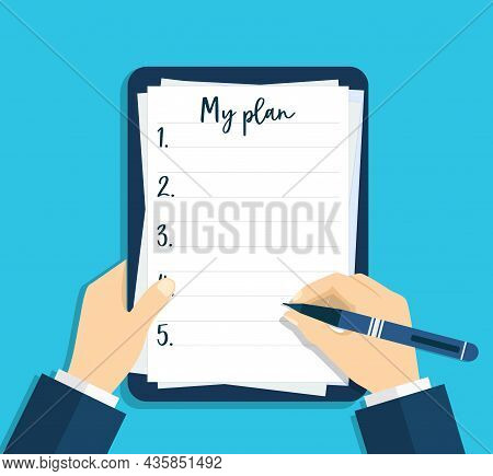Notebook With Plan And List Of Goals. Hand Writing With Help Of Pen In Paper Document. Person Write