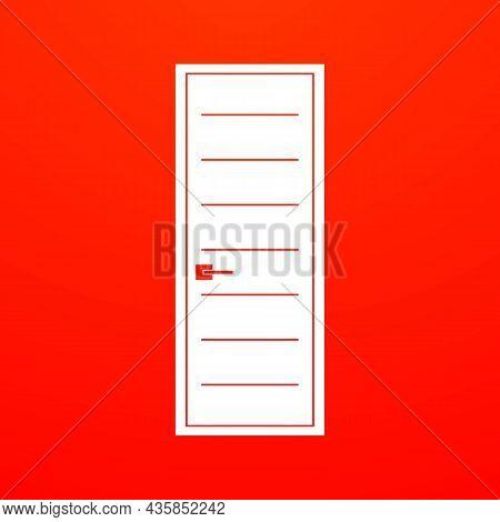 Simple Minimalistic White Door On Red Background Icon. Door Advertisement Concept. Trendy Flat Isola