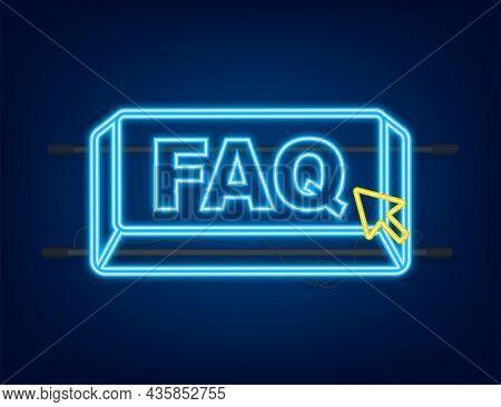 Faq With Cursor Button. Internet Neon Icon. Pointer Click Icon. Vector Stock Illustration