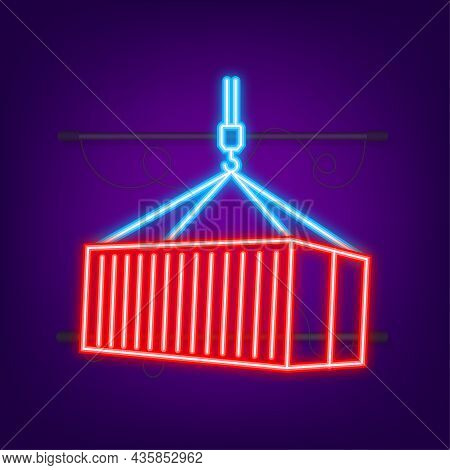 Red Shipping Cargo Container Twenty And Forty Feet. For Logistics And Transportation. Neon Style. Ve