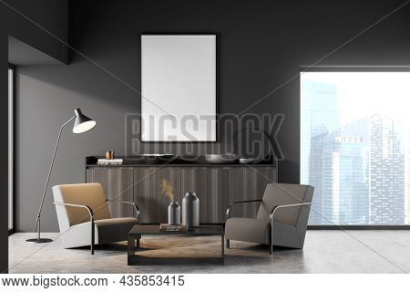 Dark Living Room Interior With Empty White Poster, Panoramic Window With Singapore View, Coffee Tabl