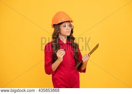 Find The Solution. Teen Girl In Protective Glasses. Child Wear Eyeglasses And Helmet. Protection.