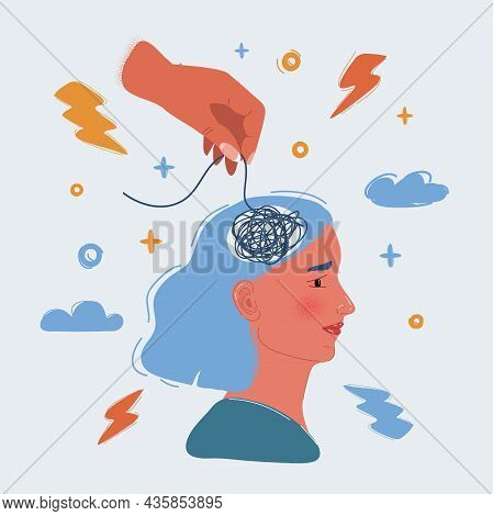 Vector Illustration Of Womans Head, Scribbles Inside. Concept Of Inner Confusion, Difficulty, Mess,