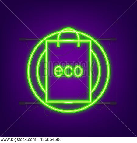 Say No To Plastic Bags Poster. The Campaign To Reduce The Use Of Plastic Bags To Put. Neon Style. Ve