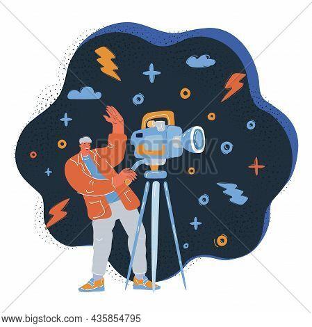 Vector Illustration Of Man Shoot The Cinema With Movie Camera Over Dark Backround.