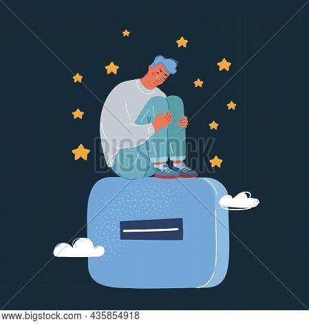 Vector Illustration Man Sit At Big Minus Signs. Negative And Depressive Concept On Dark Backround.