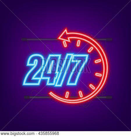 24-7 Service Concept. 24-7 Open. Neon Icon. Support Service Icon. Vector Stock Illustration