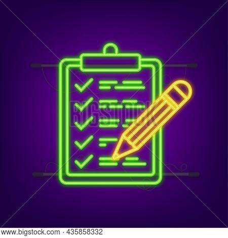 Clipboard With Checklist Icon. Neon Icon. Clipboard With Checklist Icon For Web. Vector Illustration