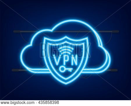Secure Vpn Connection Concept. Virtual Private Network Connectivity Overview. Neon Style. Vector Sto