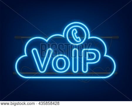 Voip Technology, Voice Over Ip. Internet Calling Banner. Neon Icon. Vector Illustration