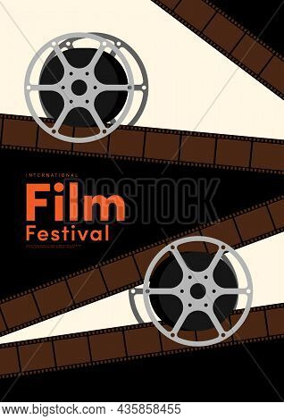 Movie And Film Poster Design Template Background With Film Reel. Can Be Used For Backdrop, Banner, B