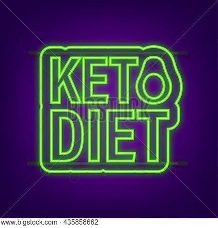 Ketogenic Diet Logo Sign. Keto Diet. Neon Icon. Vector Illustration