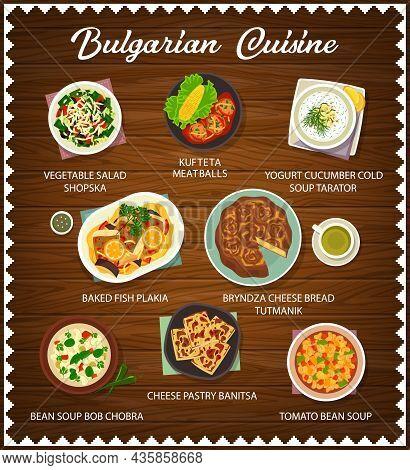 Bulgarian Food Meals And Dishes Menu. Kufteta Meatballs, Vegetable Salad Shopska And Bryndza Bread T