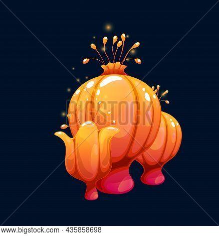Fantasy Magic Orange Plump Mushrooms Of Vector Fairy Forest Or Alien Space Planet Nature. Cartoon Fu