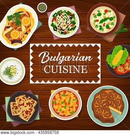 Bulgarian Cuisine Meals And Dishes Menu Cover. Banitsa Pie, Salad Shopska And Kufteta Meatballs, Bak